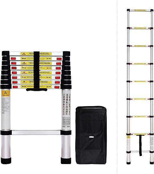 Todeco - Escalera Telescópica, Escalera Plegable - Carga máxima: 150 kg - Estándar/Certificación: EN131 - 2,6 Metro(s), Bolsa de transporte GRATIS, EN 131: Amazon.es: Bricolaje y herramientas