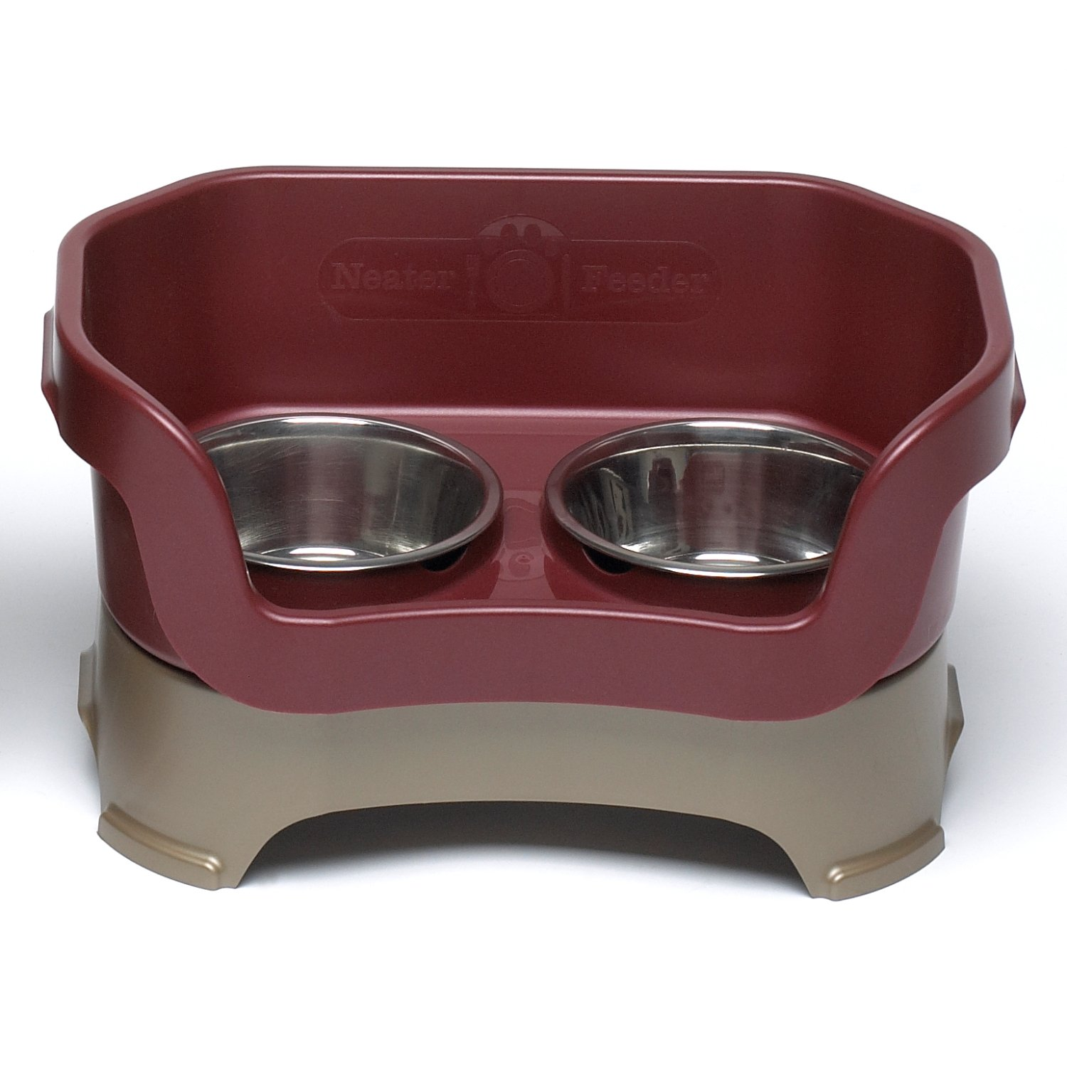 Neater Feeder Deluxe Medium Dog (Cranberry) - The Mess Proof Elevated Bowls No Slip Non Tip Double Diner Stainless Steel Food Dish with Stand