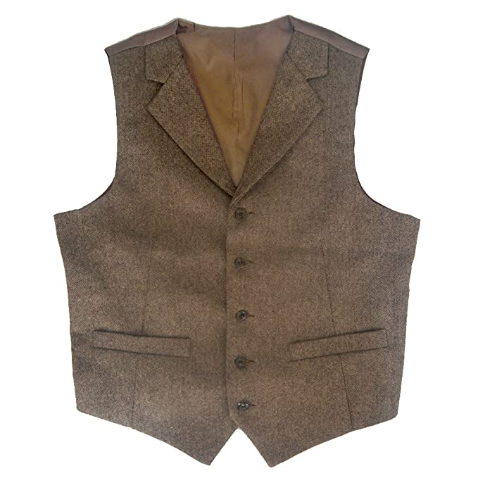 1910s Men's Edwardian Fashion and Clothing Guide Tailorsun Tweed Vintage Notch Lapel Rustic Wedding Vest Brown $29.00 AT vintagedancer.com