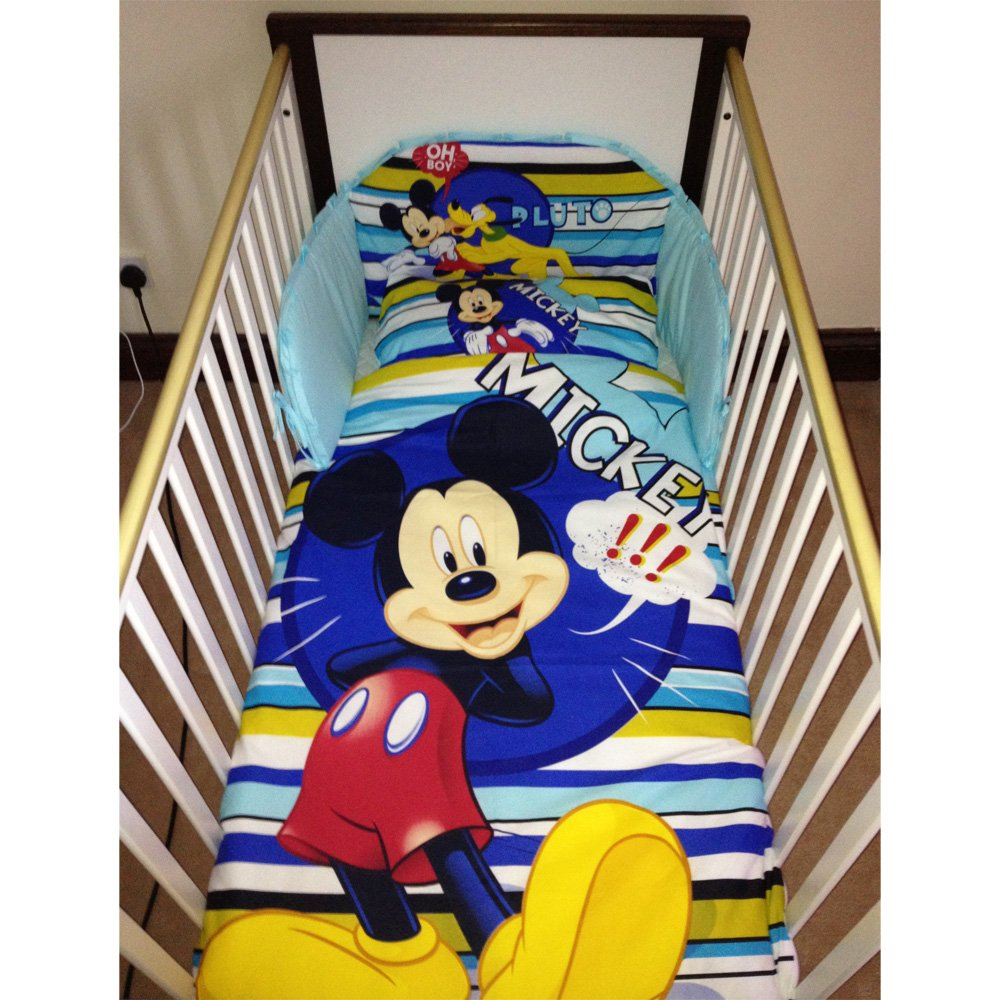 Disney Mickey Mouse & Pluto Bedding Set for Cot or Cotbed (Cotbed - 140 x 70cm) SleepLittleBaby