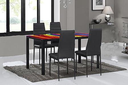Phenomenal Dining Table And Chairs Multi Colour Dining Table With X4 Faux Leather Chairs With Metal Legs Creativecarmelina Interior Chair Design Creativecarmelinacom