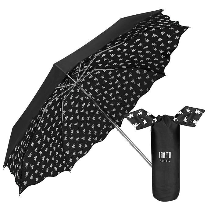 Perletti Chic - Paraguas Plegable Mujer, Super Mini Paraguas con estampado Flores Interno con bolso Compacto y Antiviento, Negro, diámetro de 94 cm: ...