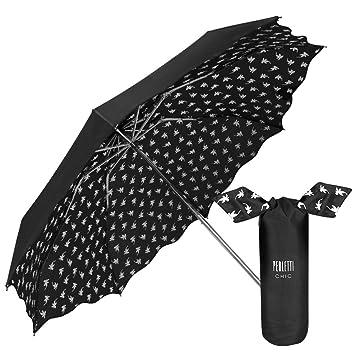 Perletti Chic - Paraguas Plegable Mujer, Super Mini Paraguas con estampado Flores Interno con bolso