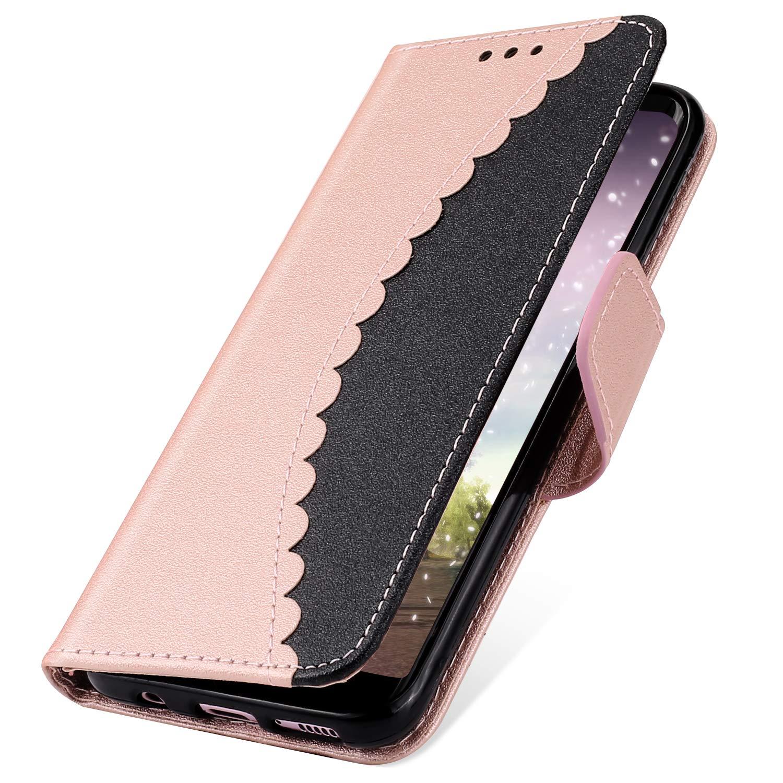 MoreChioce Galaxy S7 Hü lle,Galaxy S7 Ledertasche, Bookstyle Klapphü lle Stand Flip Wallet Elegant Nä hen Handyhü lle Magnetische mit Kratzfestes, Handschlaufe fü r Samsung Galaxy S7