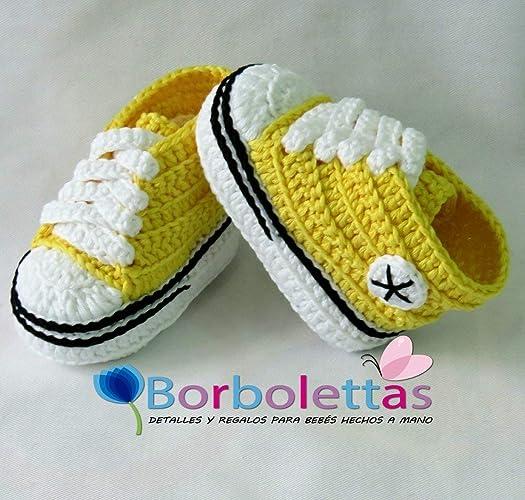 Patucos para Bebé, tipo Converse, 3-6 meses Amarillo. Hecho a Mano ...