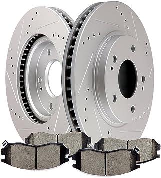 Fit Kia Spectra Spectra5 Front Rear Drill Slot Brake Rotors+Ceramic Brake Pads