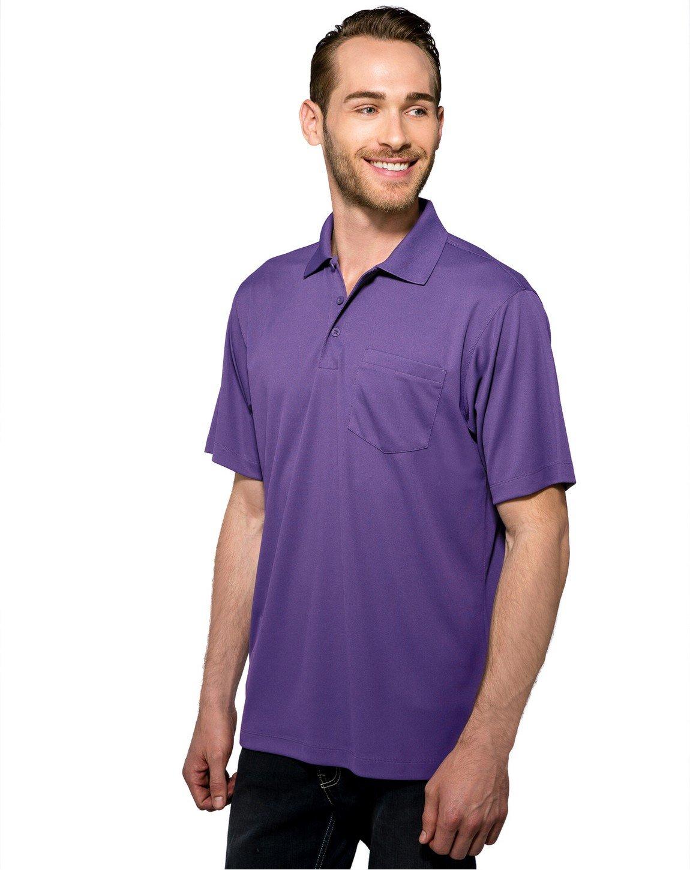 Tri-Mountain Men's 5 oz Moisture Wicking Polyester Shirt w/Pocket Purple X-Large