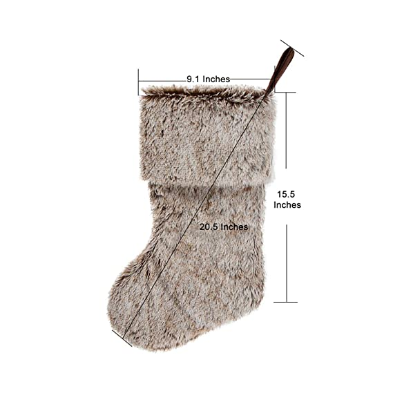HAUMENLY Brown Faux Fur Christmas Stocking Plush Xmas Socks Holiday Decoration for Home Party
