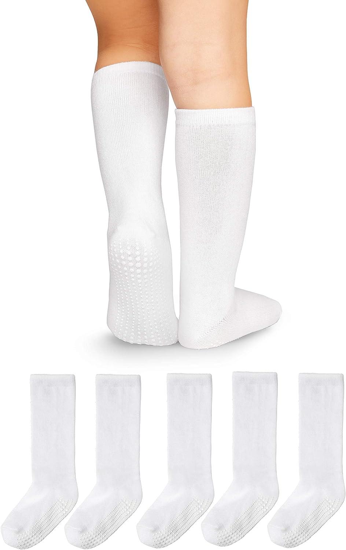LA Active Calcetines Altos Rodilla Antideslizantes - para Bebé Niños Niñas Infantil - Algodón