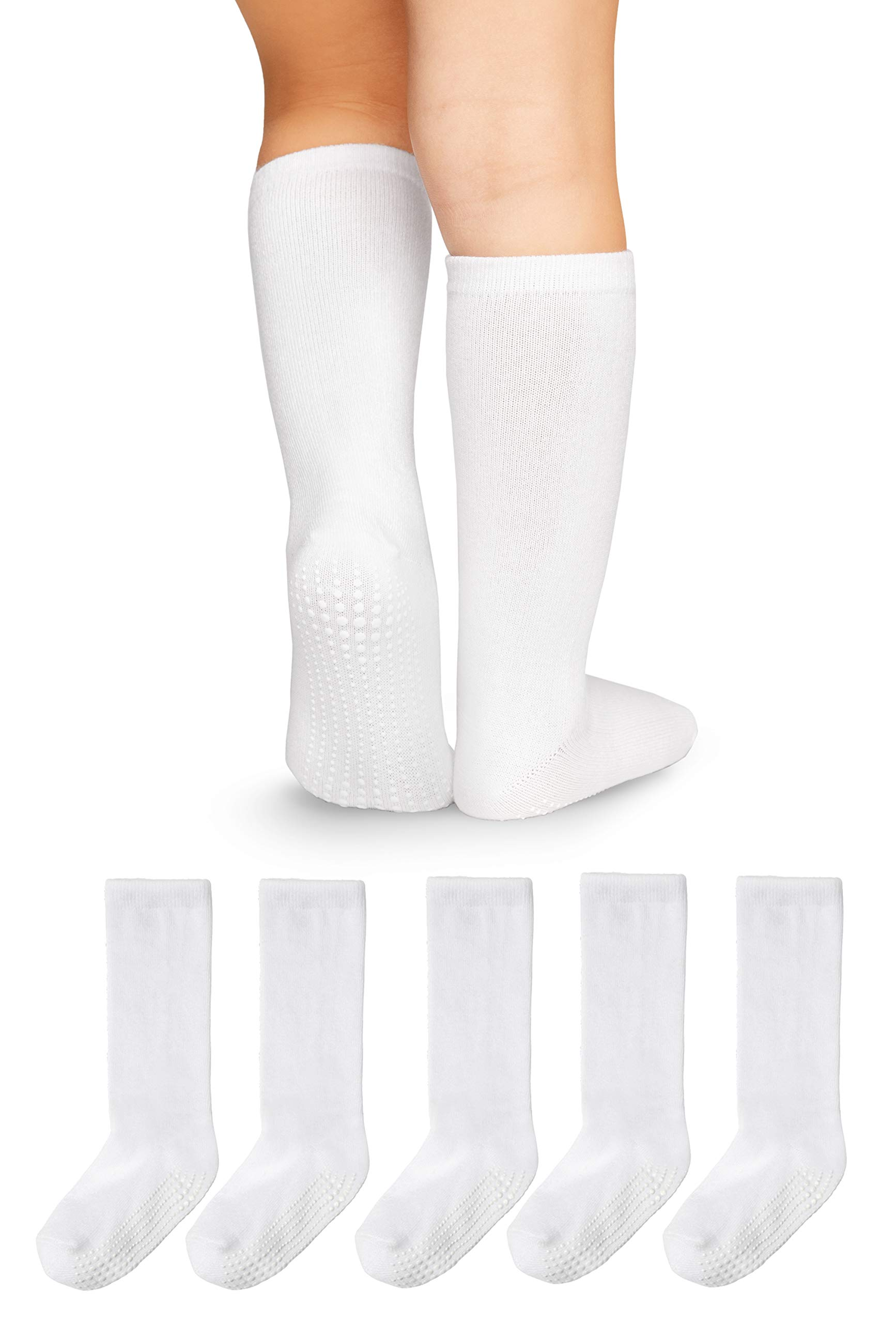 LA Active Knee High Grip Socks - 5 Pairs - Baby Toddler Non Slip/Skid Cotton (White, 12-36 Months) by LA Active