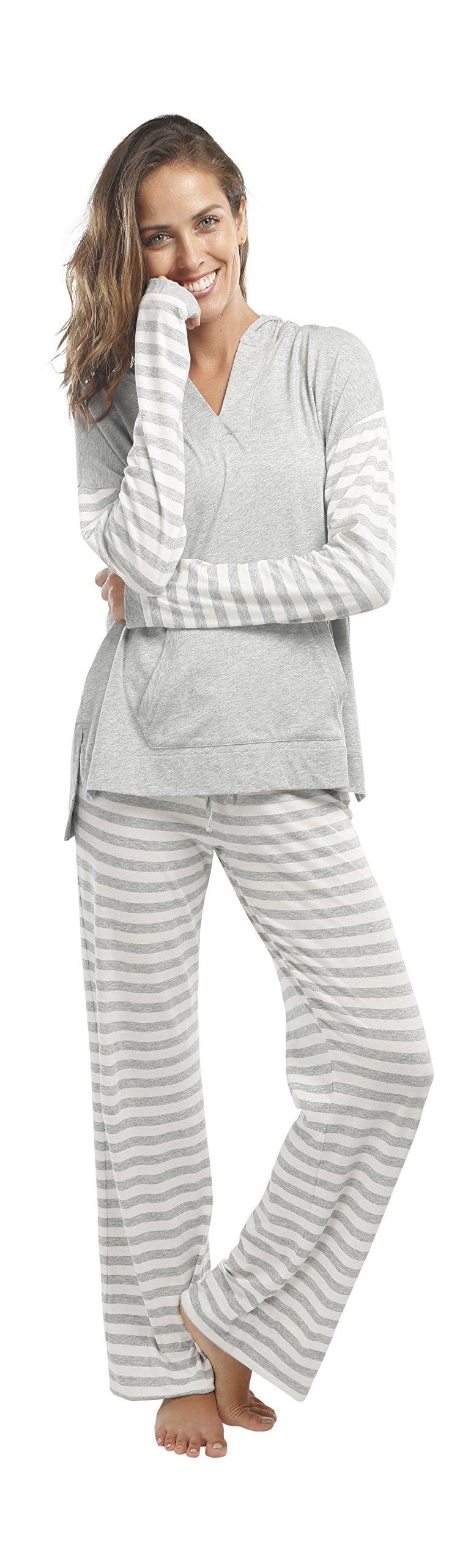 jijamas Incredibly Soft Pima Cotton Women's Pajama Set ''The Hoodie Set'' In Heather Grey by jijamas (Image #8)