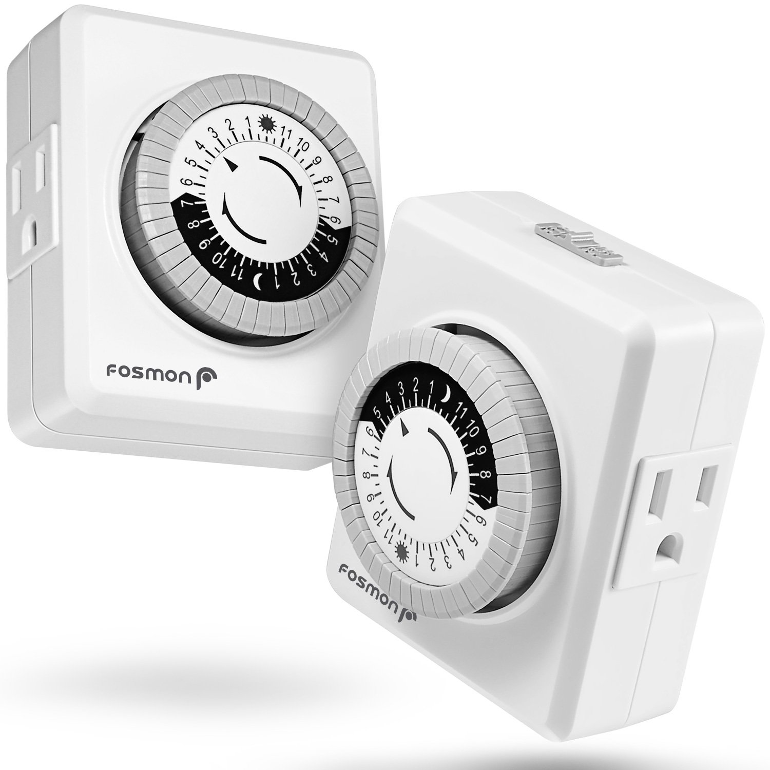 24 Hour Timer Outlet (2 Pack), Fosmon 3-Prong Dual Outlet Plug-in Mechanical Timer Grounded, ETL Listed