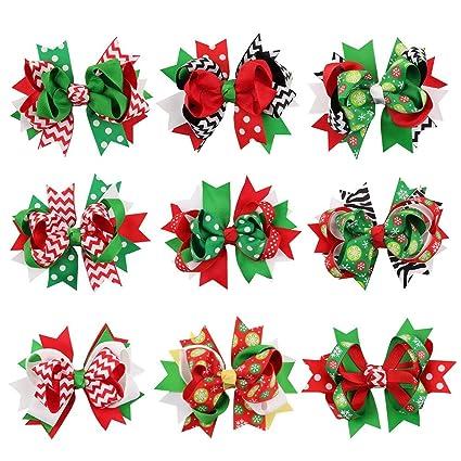 Christmas Hair Clips.Amazon Com Toyvian 9pcs Christmas Hair Clips Hair Bow Clips