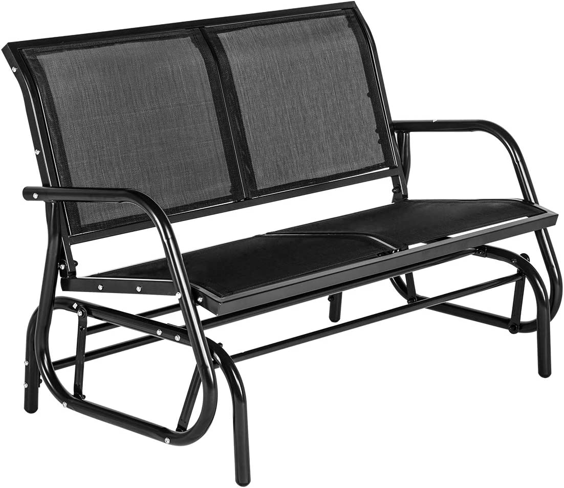 YOLENY Outdoor Swing Glider Chair with Powder Coated Steel Frame, Garden Rocking Seating, Patio Bench for 2 Person