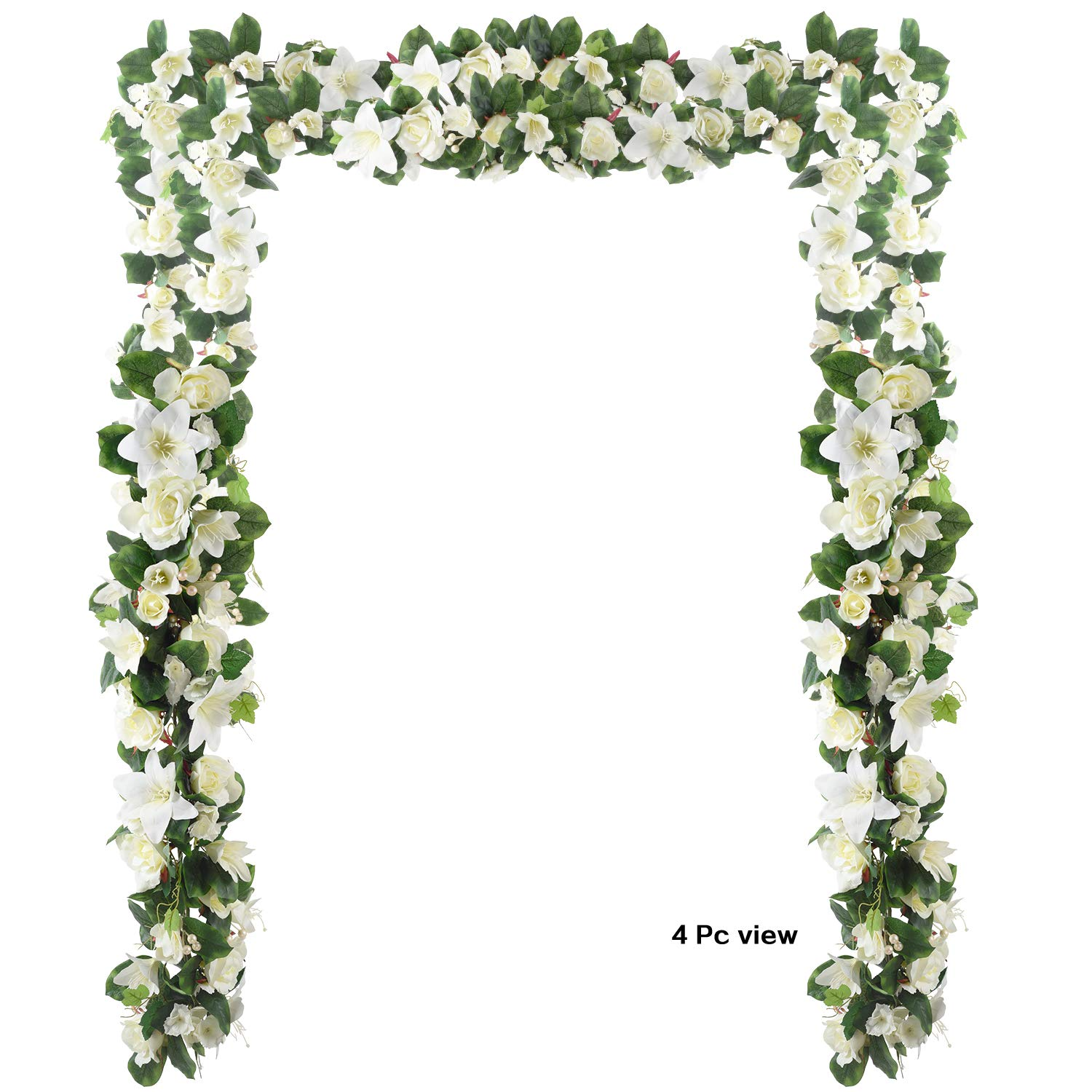 6 Feet Artificial Rose and Lily Garland, Artificial Silk Rose Lily Flower Ivy Vine Leaf Hanging Garland Wreath Garland for Home Wedding Wall Decor Lily  (White) by Woooow