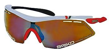 Briko Endure Pro Team Sonnenbrille Radfahren Unisex, weiß/rot/schwarz