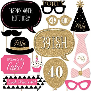 product image for Chic 40th Birthday - Pink, Black and Gold - Birthday Photo Booth Props Kit - 20 Count