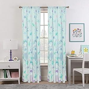 Kidz Mix Mystical Mermaid Window Curtains, 48x84, Blue
