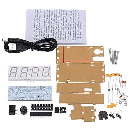 KKmoon 4 d韌itos DIY LED microcontrolador electr髇ico reloj Kit 0,8