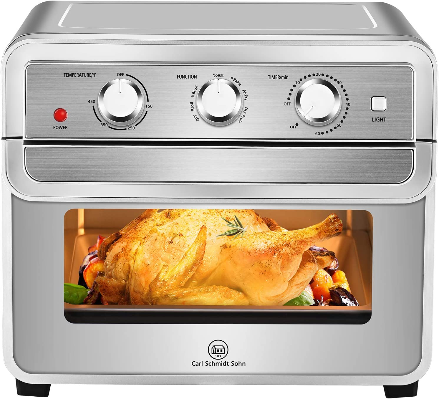 Air Fryer Oven -1829 CARL SCHMIDT SOHN6-in-1 Air Fryer Toaster Oven Combo, with Rotisserie Stainless Steel 23QT Large Capacity & 1700W, Included Toast/Bake/Broil/Air fry/Dried Fruit/Reheat, Sliver