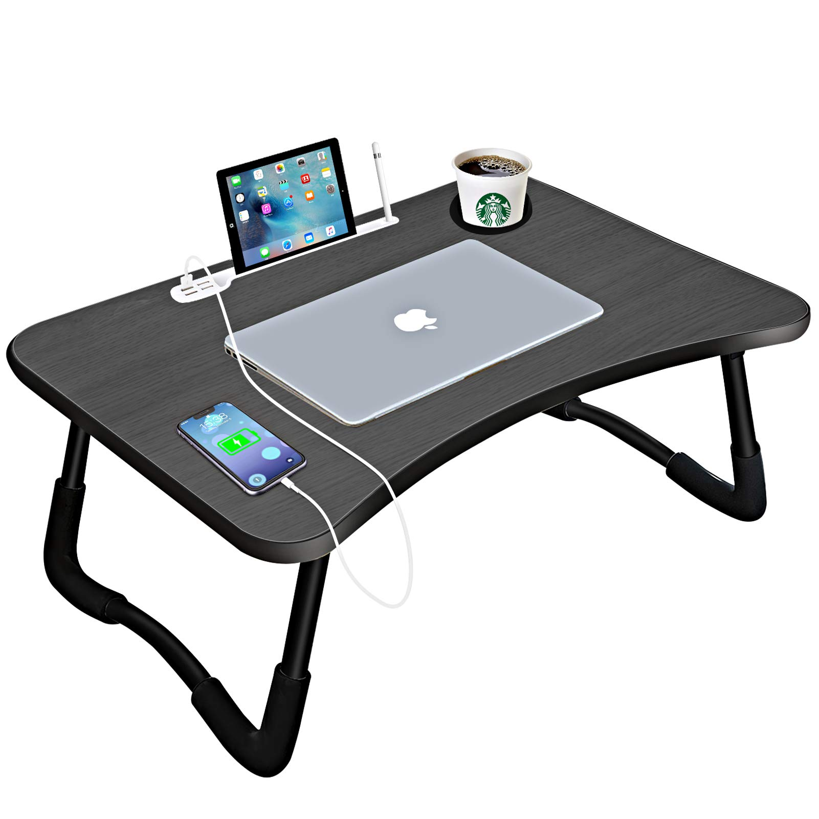 Laptop Bed DeskPortable Foldable Laptop Tray Table with USB Charge Port/Cup Holder/Storage