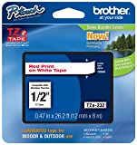 """2 Pack Brother P-touch 1/2""""  Standard Laminated Tape, Red on White, 26.2-Feet (Red on White)"""