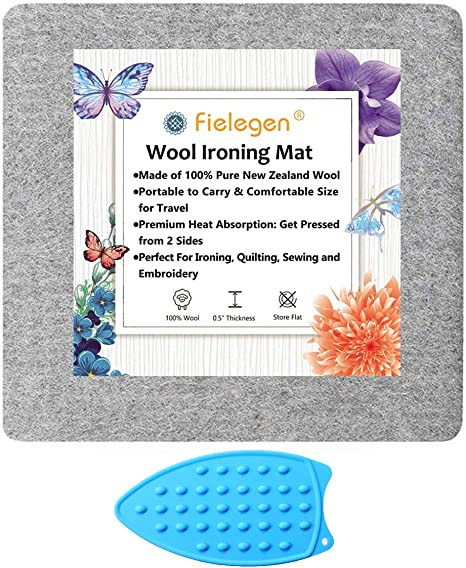 1//2 Thick Wool Ironing Mat Pad for Quilting Easy Press Mat Sewing Notions and Ironing Fielegen 13.5 x 13.5 Wool Pressing Mat for Sewing Embroidery Crafts Pressing Seams Cutting