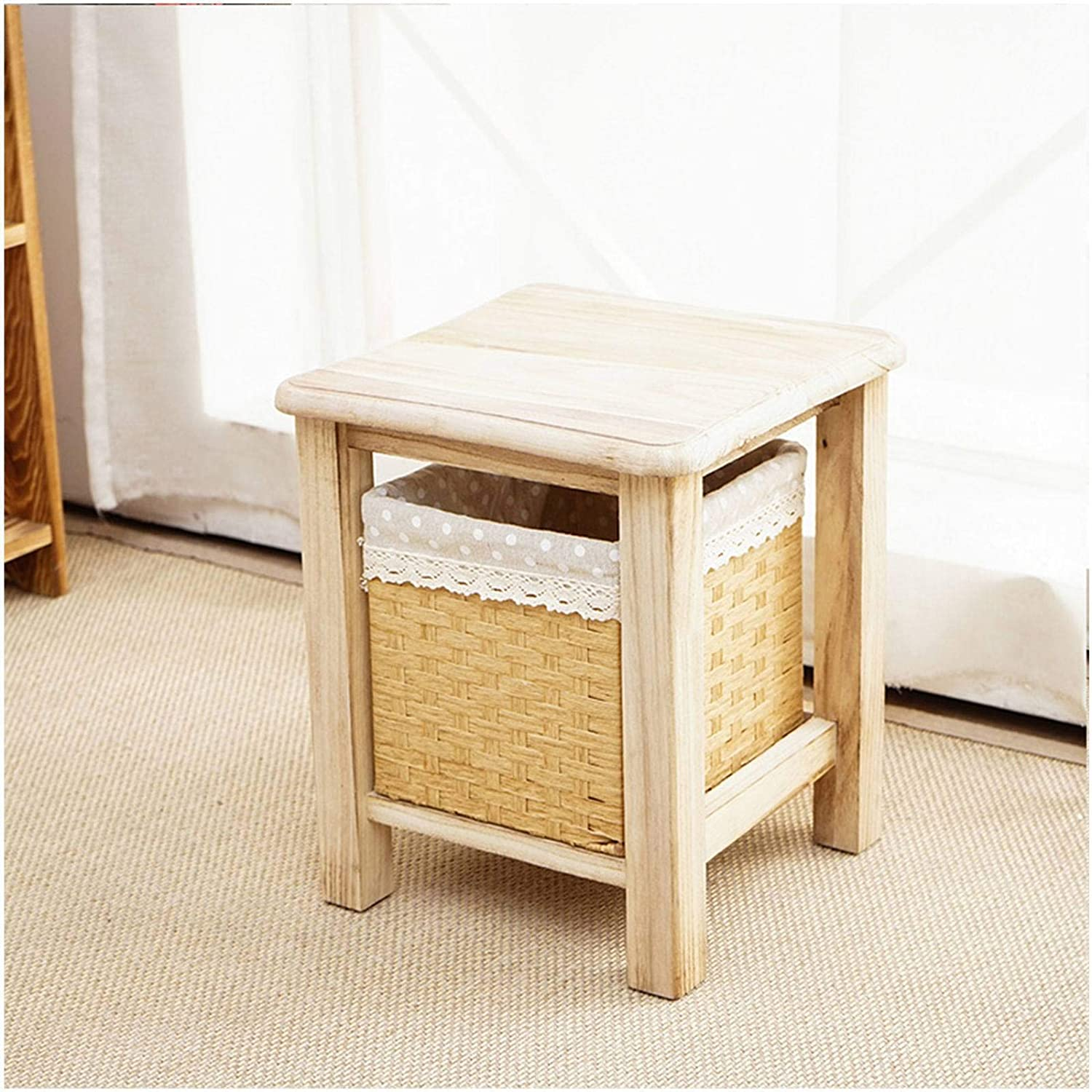 MO&SU Vintage Storage Stool, Waterproof Garden Stool Low Stool Solid Wood Ottoman Toy Storage Box for Living Room Bedroom-A-30x30x30cm(12x12x12inch)