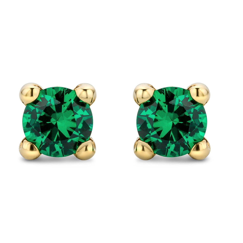 Miore Earrings Women studs Emerald with Swarovski Yellow Gold 9 Kt/375 e5fl6yf