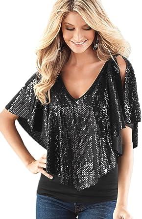 La Mujer Lentejuelas Chal Patchwork Profundo Escote En V Blusa Camisa Tops: Amazon.es: Ropa y accesorios