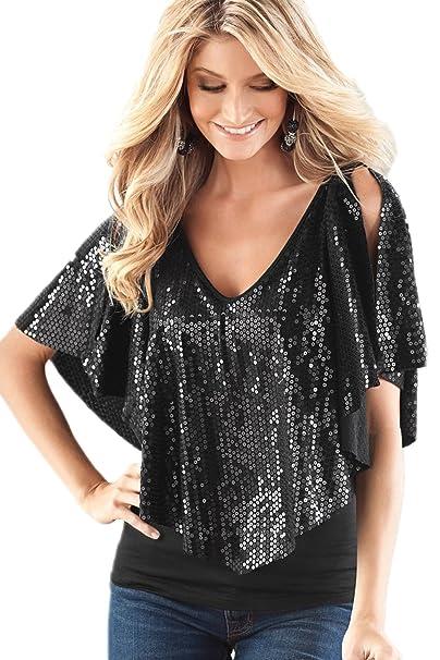 0571c5c1fa81e La Mujer Lentejuelas Chal Patchwork Profundo Escote En V Blusa Camisa Tops   Amazon.es  Ropa y accesorios