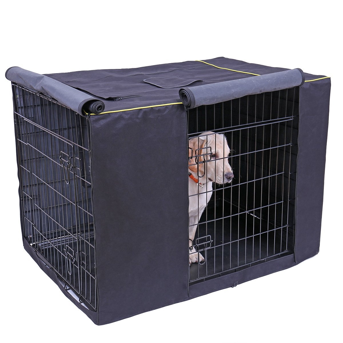 Speedy Pet Waterproof Dog Kennel Covers Durable Windproof Dust-Proof Crate Cover Indoor/Outdoor for Dog Cage Black (2XL(47.6'' x 30.3'' x 32.3''), Black)