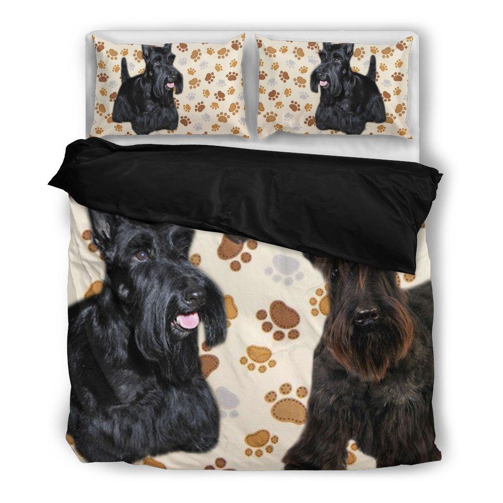 Scottish Terrier Paw Print Bedding Set - Dog Lovers Gifts - Custom Cover Print Design Pillow Cases & Duvet Blanket Cover - Pet Gift Ideas