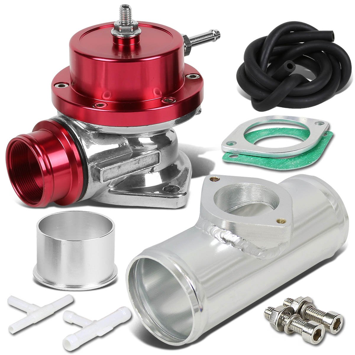 Type-S Style Universal 40mm Turbo Blow Off Valve+2.5' Flange Pipe - Silver Auto Dynasty