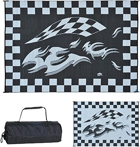 Stylish Camping HA1 Black Checker Flag Mat 8-Feet x 12-Feet