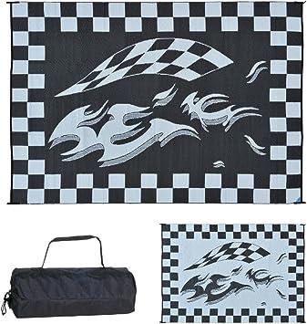 Reversible Outdoor Checkered Trailer Mat RV Camper Floor Rug Camping White Black