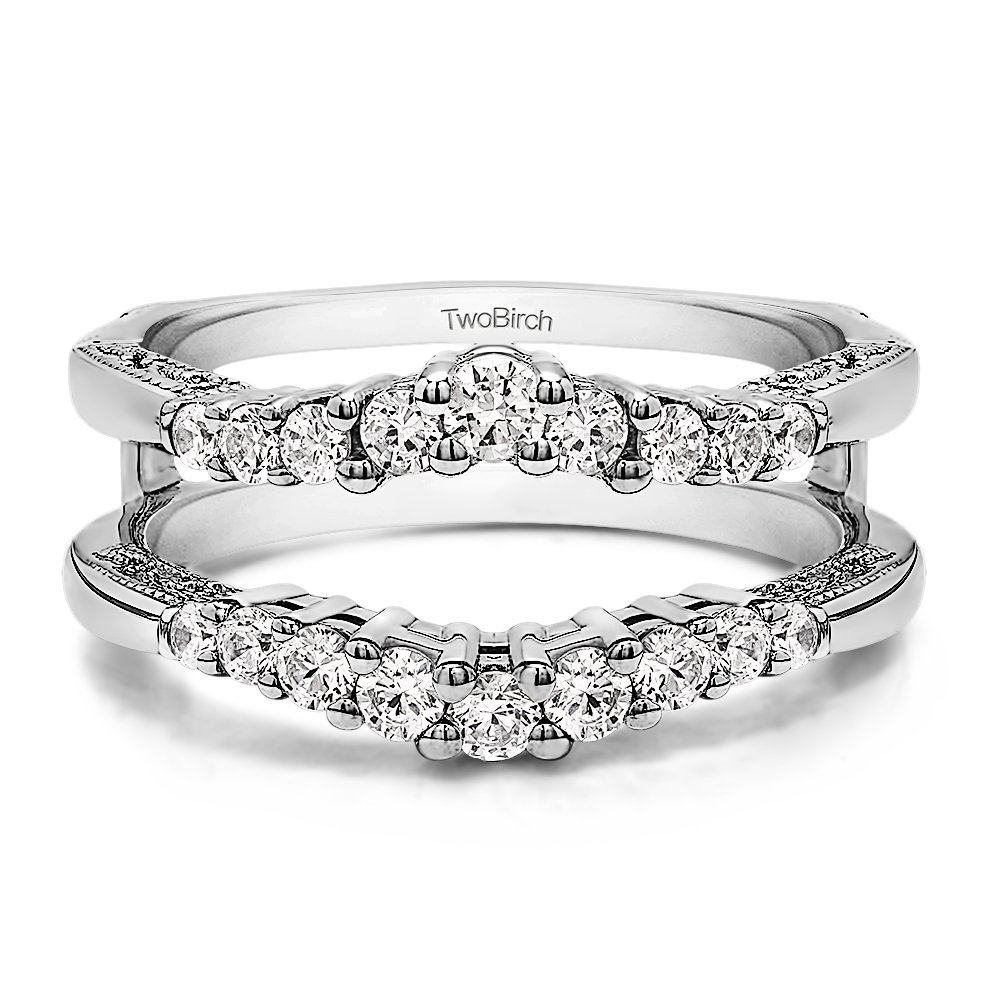 TwoBirch Vintage Ring Guard with Milgraining and Filigree Designs with 0.73 carats of Cubic Zirconia in Sterling Silver by TwoBirch