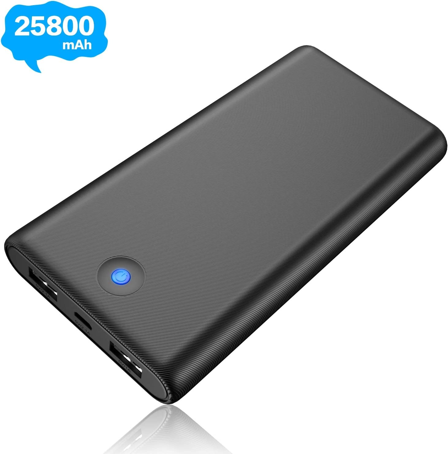 Portable Charger Power Bank 25800mAh [2019 Newest] Ultra High Capacity Phone Charger with Color LED Indicator, 2 USB Output Lighter Weight External Battery Pack for Smart Phone Android Tablet and More