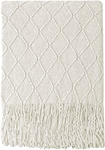 """Bourina Beige Throw Blanket Textured Solid Soft Sofa Couch Cover Decorative Knitted Blanket, 50"""" x 60"""", Beige"""