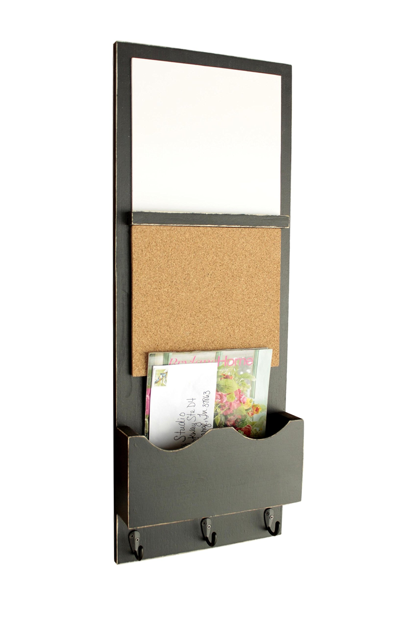 Legacy Studio Decor Message Center with White Board, Cork Board and Large Mail Slot (Distressed, Black)