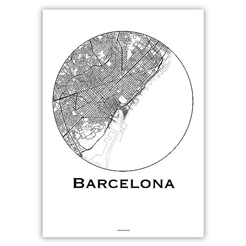 Cartel Barcelona España Minimalista Mapa - City Map, decoración, regalo: Amazon.es: Handmade