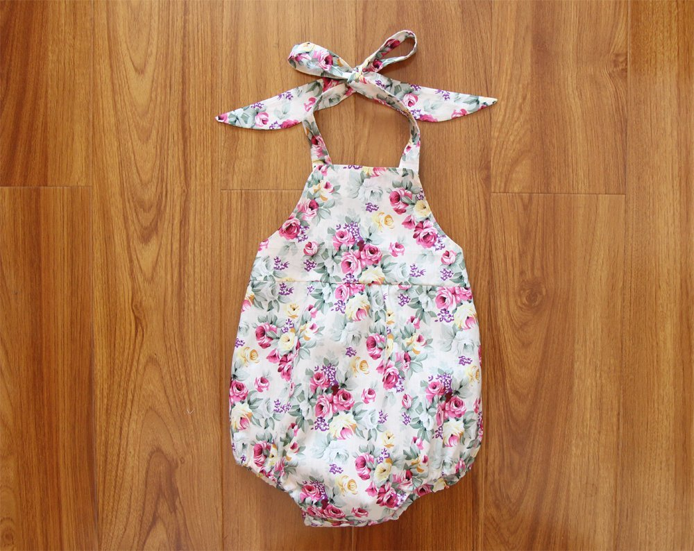 Floral Baby Girl Romper Baby Romper Peony Bubble Romper