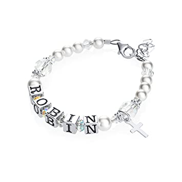 03739d04d4ae7 Personalized Name Christening Toddler Bracelet with Swarovski Crystals  (BWNP_M+)