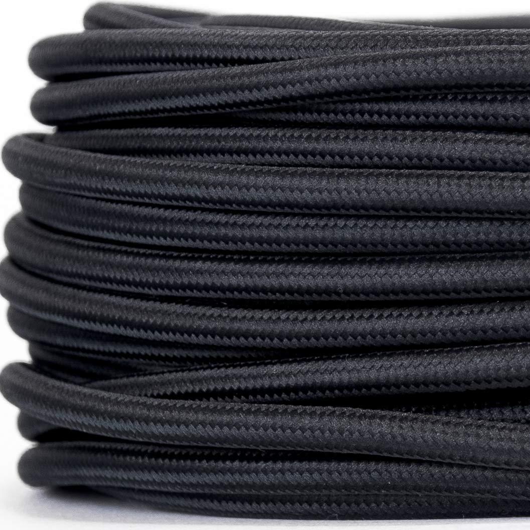 - 3 Meter Stoffkabel 3-adrig 3x0,75mm/² Braun Dunkelbraun Textilkabel f/ür Lampe