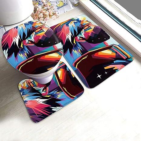Naruto0 Bathroom Set 3PCS Toilet Seat Mat Cover Mat Non-slip Rug Bathroom Decor