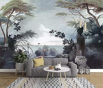 Duvarkapla Koyu Ağaçlar Boyama Duvar Kağıdı Deniz Manzarası Ve
