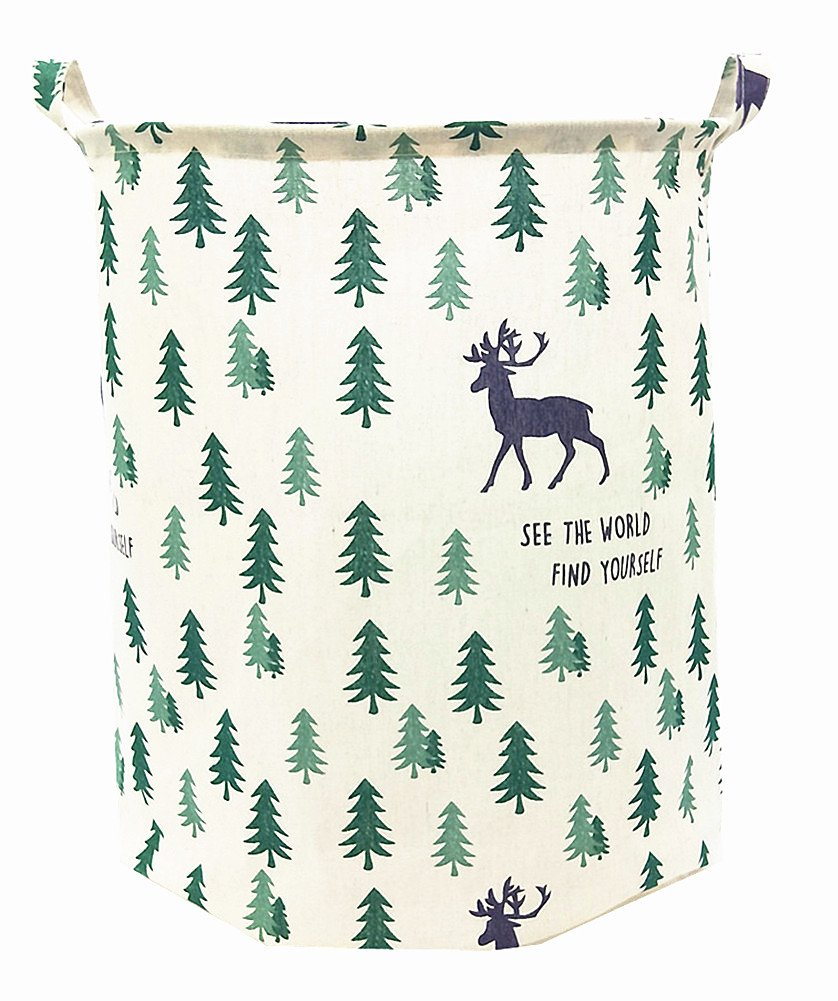 "TIBAOLOVER 19.7"" Large Sized Waterproof Foldable Canvas Laundry Hamper Bucket with Handles for Storage Bin,Kids Room,Home Organizer,Nursery Storage,Baby Hamper(Pine Trees and Deers)"