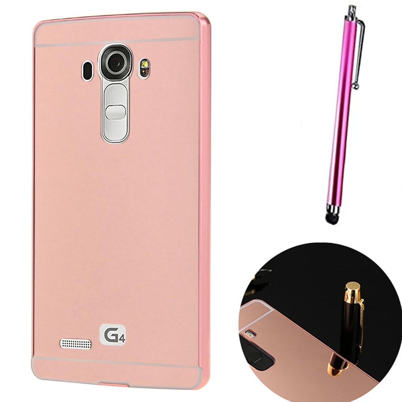 LXHGrowH Funda Espejo para LG G4 Aluminio Metal Carcasa Color Rosado