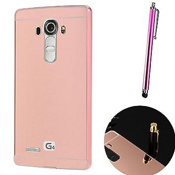 Funda Espejo para LG G4 Aluminio Metal Carcasa Color Rosado
