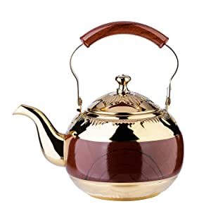 1.5 Liter Tea Pot Gold Pot with Infuser for Loose Leaf Tea Stainless Steel Coffee Kettle 6 Cup Induction Stovetop Copper Teapot Strainer Office Hot Water Mirror Finish 1.6 Quart 51 Ounce by Onlycooker